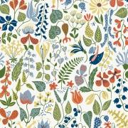Papier peint - Boråstapeter - Herbarium - Jaune vert orange bleu blanc