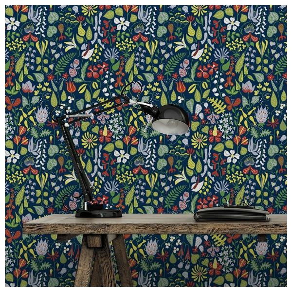 Papier peint champs de fleurs vert kejsarkrona au fil des couleurs - Papier peint bleu nuit ...