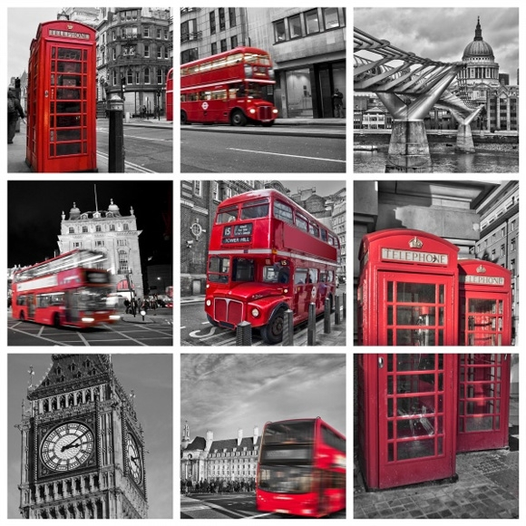 Décor mural - Rebel Walls - London Calling - Gris & rouge