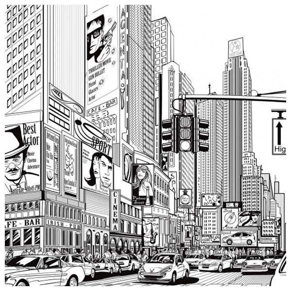 poster xxl noir et fond blanc new york dessin de bd – rebel walls