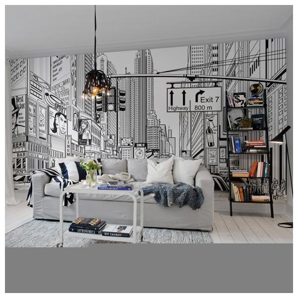 Poster xxl noir et fond blanc new york dessin de bd - Poster mural xxl new york ...