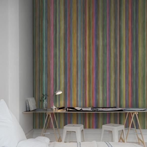 Papier peint fines rayures verticales couleurs arc en ciel for Papier peint rayures verticales