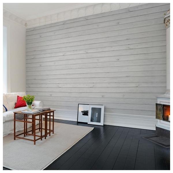 Papier peint effet planches de bois blanc rebel walls for Papier peint facon bois