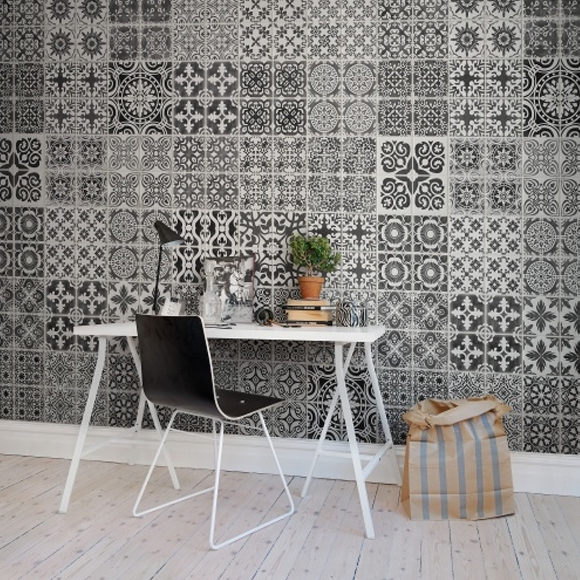 papier peint carrelage motifs arabesques noir blanc. Black Bedroom Furniture Sets. Home Design Ideas