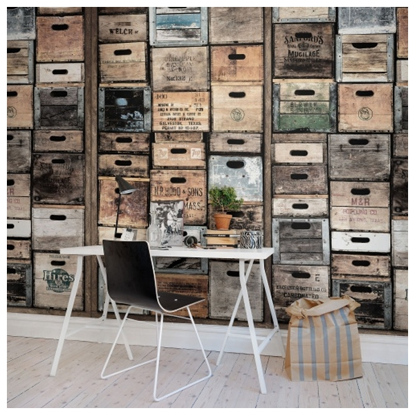 papier peint style industriel vielles caisses en bois. Black Bedroom Furniture Sets. Home Design Ideas