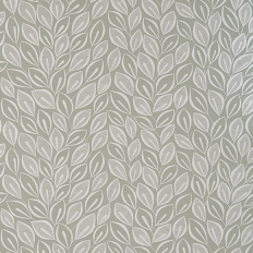 Papier peint - MissPrint - Leaves - Dove grey with white