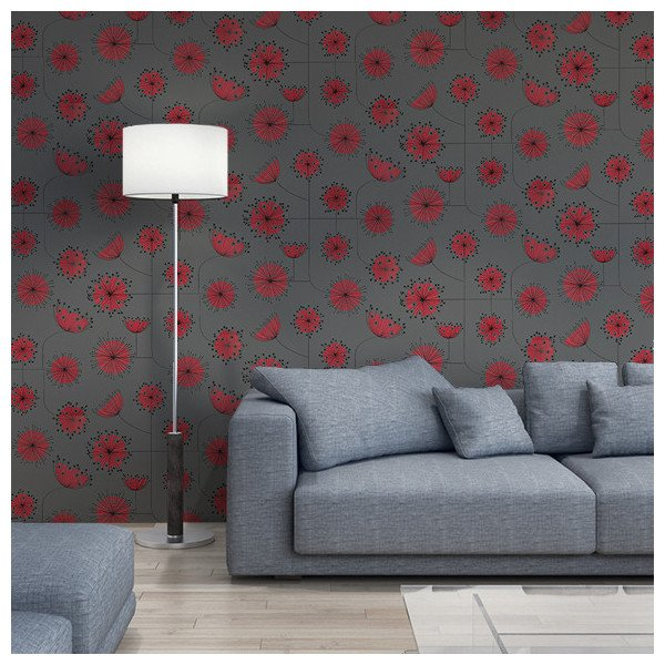 papier peint dandelion de missprint formes g om triques de pissenlit gris et rouge au fil des. Black Bedroom Furniture Sets. Home Design Ideas