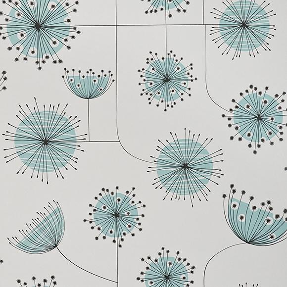 papier peint blanc et bleu pissenlit graphique missprint au fil des couleurs. Black Bedroom Furniture Sets. Home Design Ideas