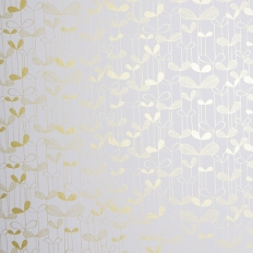 Papier peint - MissPrint - Saplings - White with gold