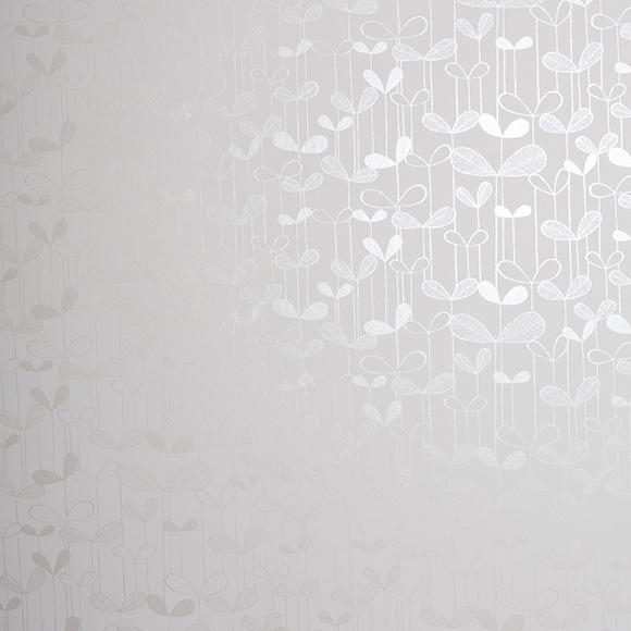 Papier peint blanc et argent d licates fleurs saplings for Papier peint blanc argent