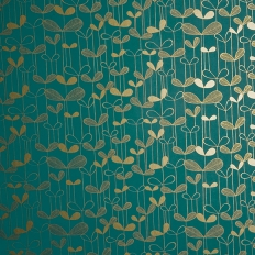 Papier peint - MissPrint - Saplings - Turquoise with gold