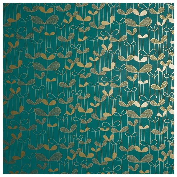 Papier peint bleu turquoise et dor d licates fleurs saplings missprint au fil des couleurs - Papier peint bleu turquoise ...