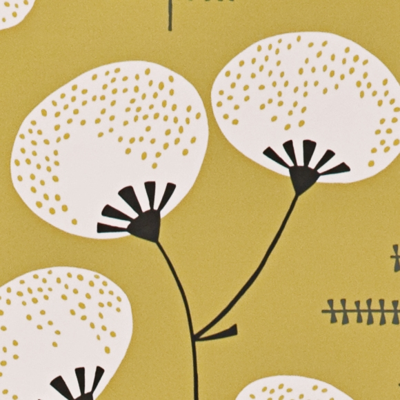 papier peint jaune cotonniers style japonisant missprint au fil des couleurs. Black Bedroom Furniture Sets. Home Design Ideas