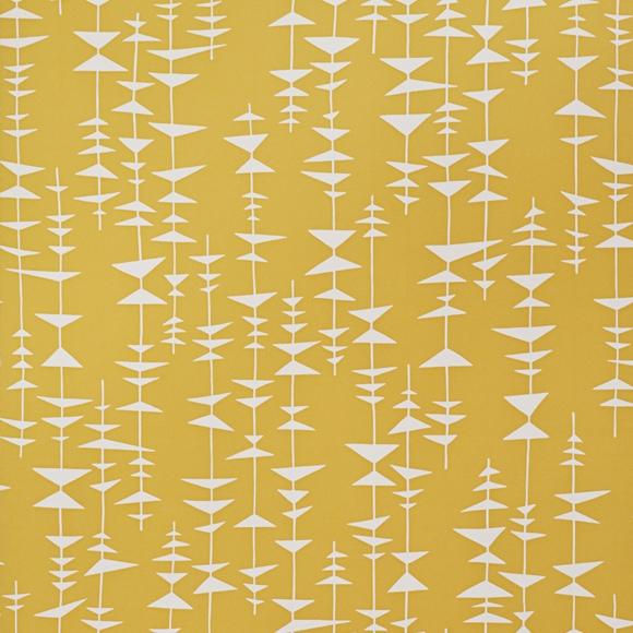 papier peint ditto jaune tonique et petits triangles blancs. Black Bedroom Furniture Sets. Home Design Ideas