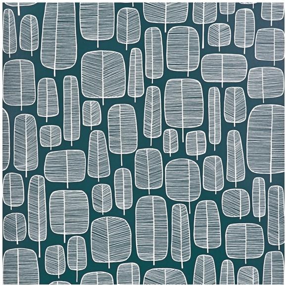 papier peint vert meraude motif d arbres graphiques little trees missprint au fil des couleurs. Black Bedroom Furniture Sets. Home Design Ideas