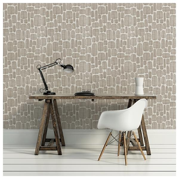 Papier peint blanc marron motif d arbres graphiques little - Papier peint motif arbres ...