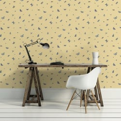 Papier peint - Thibaut - Ladybug - Blue on Yellow