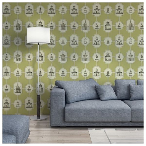 papier peint oriental vert oriental toile thibaut au. Black Bedroom Furniture Sets. Home Design Ideas
