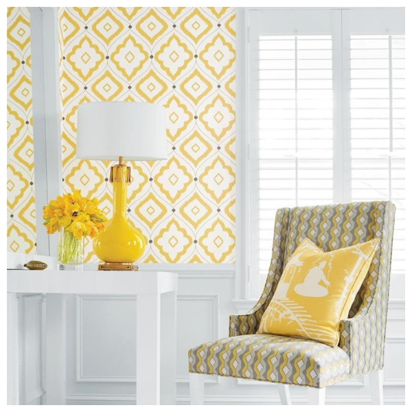 papier peint bungalow treillis de couleur jaune grise beige. Black Bedroom Furniture Sets. Home Design Ideas