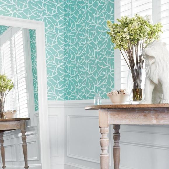 Papier peint botanique turquoise regina thibaut au fil des couleurs - Au fil des couleurs papier peint ...