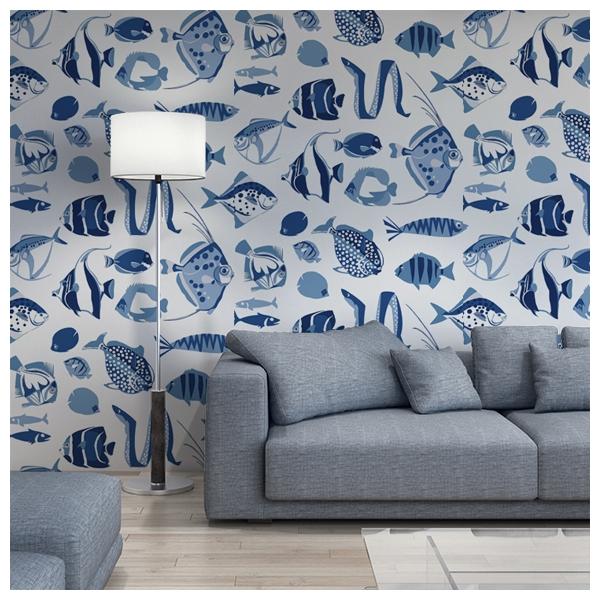 papier peint bleu et blanc poissons thibaut au fil des. Black Bedroom Furniture Sets. Home Design Ideas
