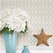 Papier peint - Thibaut - Bribie - Coral and Turquoise