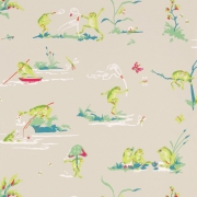Papier peint - Thibaut - Resort Frogs - Flax