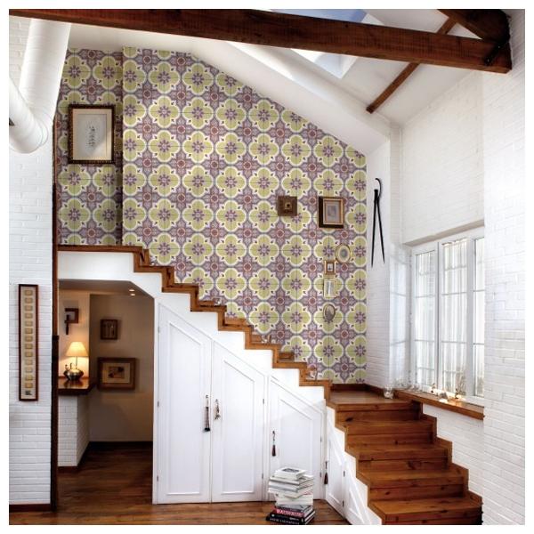 papier peint carreaux inspiration ethnique mandala coordonn. Black Bedroom Furniture Sets. Home Design Ideas