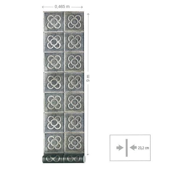 papier peint imitation carreaux sur pierre coordonn. Black Bedroom Furniture Sets. Home Design Ideas