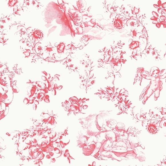 Papier peint rouge toile de jouy chambre b b - Papier peint toile de jouy rouge ...