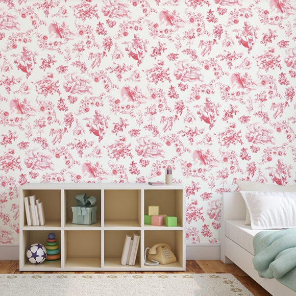 papier peint rouge toile de jouy chambre b b. Black Bedroom Furniture Sets. Home Design Ideas