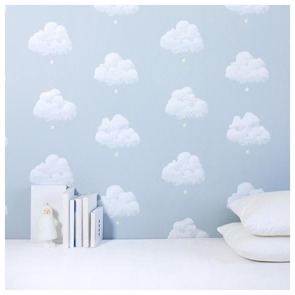 papier peint chambre enfant nuages fond bleu. Black Bedroom Furniture Sets. Home Design Ideas