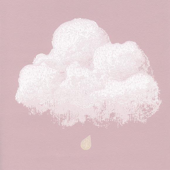 Papier peint chambre fille nuages fond rose - Papier peint rose pale ...