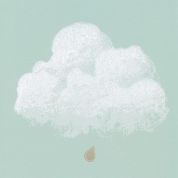 Papier peint bartsch nuages de coton vert dueau with for Papier peint nuage