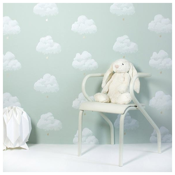 papier peint chambre enfant nuages fond vert. Black Bedroom Furniture Sets. Home Design Ideas