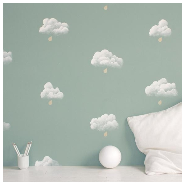 papier peint chambre enfant nuages fond vert. Black Bedroom Furniture Sets. Home Design Ideas