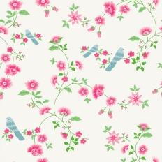 Papier peint - Coordonné - Bird branches - White