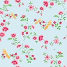 Papier peint - Coordonné - Bird branches - Blue