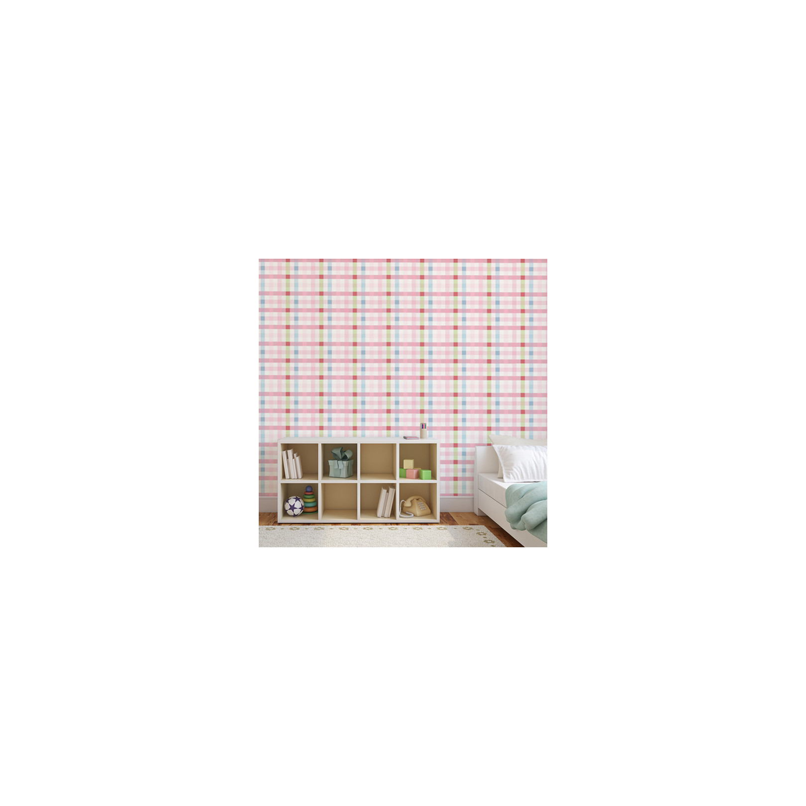 papier peint motif tartan multicolore chambre fille. Black Bedroom Furniture Sets. Home Design Ideas