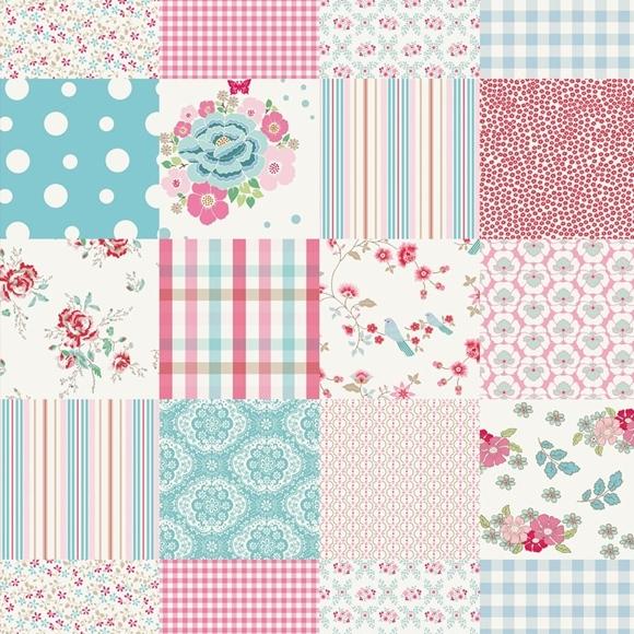 Papier peint patchwork rose chambre fille - Papel decorativo infantil ...