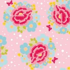 Papier peint - Coordonné - Big rose - Pink