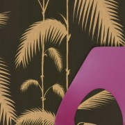 Papier peint - Cole and Son - Palm Leaves  - Black Taupe & Gold