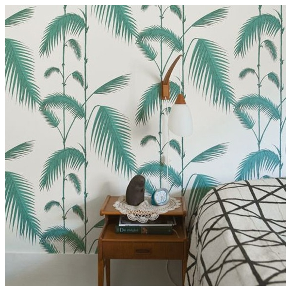 papier peint feuilles vertes palmiers palm leaves. Black Bedroom Furniture Sets. Home Design Ideas