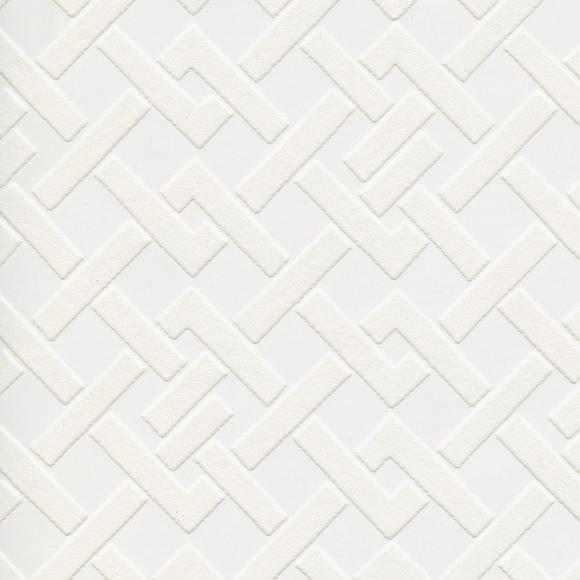 Papier Peint Blanc Motifs Géométriques Papier A Peindre - Au Fil Des
