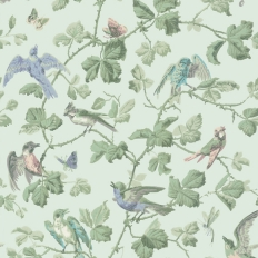 Papier peint - Cole and Son - Winter Birds - Duck Egg