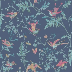 Papier peint - Cole and Son - Hummingbirds - Indigo Multi-colour