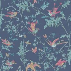 Papier peint - Cole and Son - Hummingbirds - Indigo Multi-colour