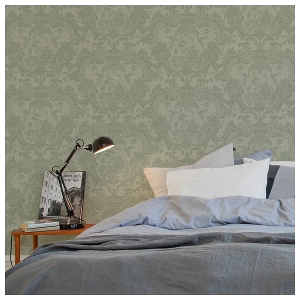 Papier peint vert olive damas classique cole son for Papier peint vert olive