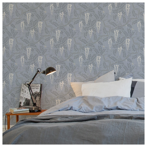 papier peint gris plantes de glycines cole son. Black Bedroom Furniture Sets. Home Design Ideas