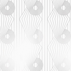 Papier peint - Erica Wakerly - Minispiral - White / Silver